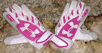 UNDER ARMOUR Motive Fastpitch White Pink Softball Batting Gloves NEW Womens XL