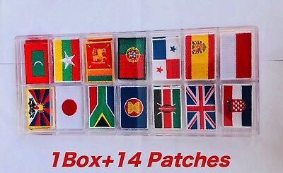 1Box=14Patches Ensign Flag Logo Embroidered Patch Iron On,Sew on T-Shirt Nation