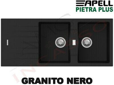 Lavello Fragranite Incasso New Pietra Plus 2 Vasche cm.116X50 Granito Nero