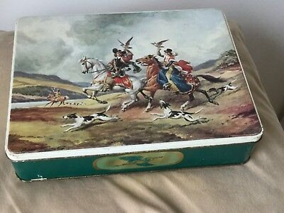 Falconry hawking collectible vintage biscuit scene tin