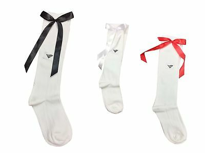 New Girls Ladies Knee High Socks With Red Bow Black & White Bow