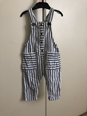 Next Baby Girl Summer Stripey Dungarees 9-12 Months