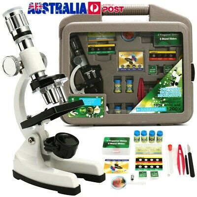 Zoom Microscope Kit Lab 400X-600X-1200X Magnification Beginner For Kids Students