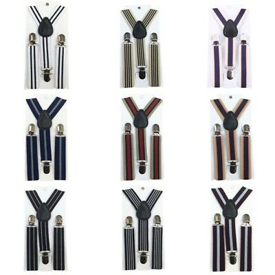 Baby Boys Stripes Clip-on Suspenders Child Gentleman Elastic Costume Brace Tie