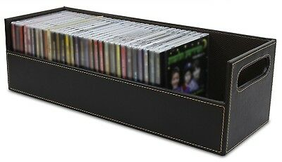 CD Tray Media Storage Box 40pc Capacity Organizer Rack Faux Leather Finish Brown