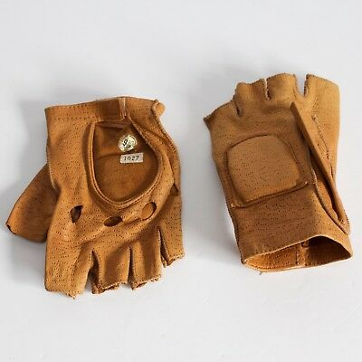 Vintage fingerless brown tan leather driving gloves size 9 1/2 1970s Velcro Cuff