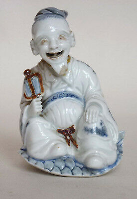 Antique Japanese Hirado Porcelain Netsuke Figure: Sage with Fan