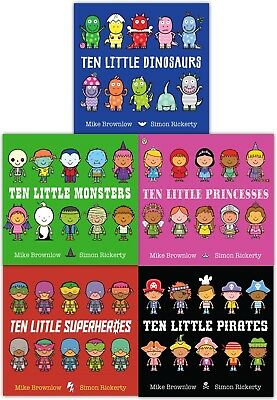 Ten Little Series Collection 5 Books Set Pirates, Dinosaurs, Monsters, Princesse