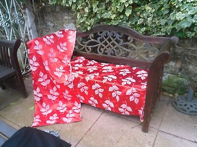 1950's Curtains Red flowers - Red satin Pair - 1960's Beautiful Vintage Retro