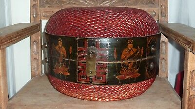 """Antique Chinese Woven Basket - Hand painted wood w/ metal clasp 16 """"W x 11 1/2"""""""