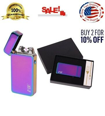 Atomic Electronic USB Lighter Flameless Dual Arc Plasma Rechargeable No Gas NEW