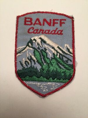 Vtg Banff Alberta Embroidered Sew On Patch Travel Alberta Rocky Mountains AB
