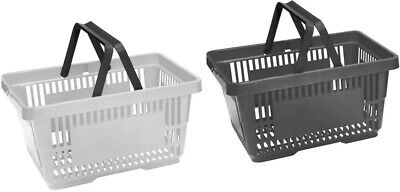 Plastic Shopping Baskets Pack of 4 Black & Grey 2 Handled Baskets