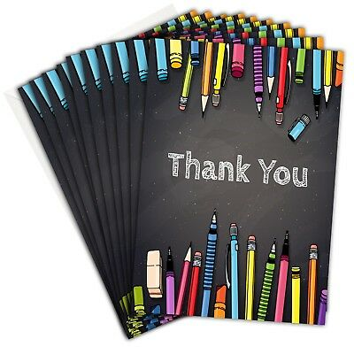 Teacher Thank You Cards - Chalkboard Folding Style with Envelopes (Pack 10)