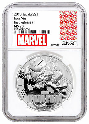 2018 Tuvalu Iron Man 1 oz Silver Marvel Srs $1 Coin NGC MS70 FR SKU53475