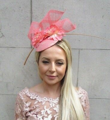 Coral Nude Peach Beige Flower Feather Hat Hair Fascinator Wedding Races 5690