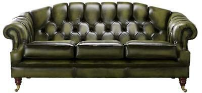 Chesterfield Victoria 3 Seater Antique Olive Green Leather Sofa Settee