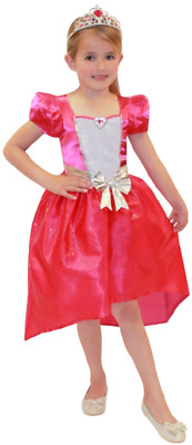 Girls Official Barbie Princess With Matching Doll Costume Fancy Dress Outfit