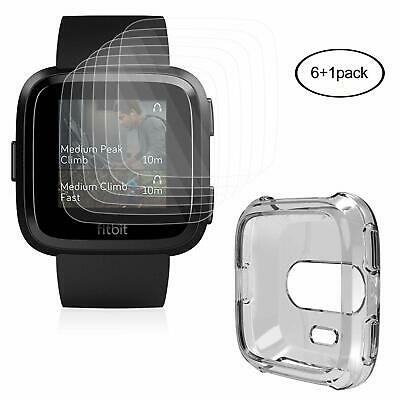 Fitbit Versa Full Coverage HD Clear Screen Protector (6-Pack) with Cover Case