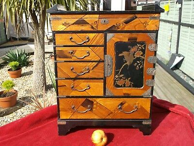 Antique Japanese Parquetry Meji Period Cabinet Table Top Jewellery Beautiful