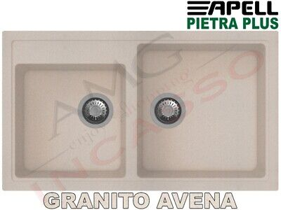 Lavello Fragranite Incasso New Pietra Plus 2 Vasche cm.86X50 Granito Avena