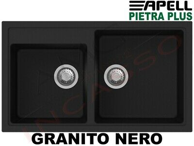 Lavello Fragranite Incasso New Pietra Plus 2 Vasche cm.86X50 Granito Nero