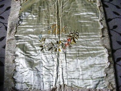 Antique French silk baby cot cover hand made lace silk embroidery throw cover