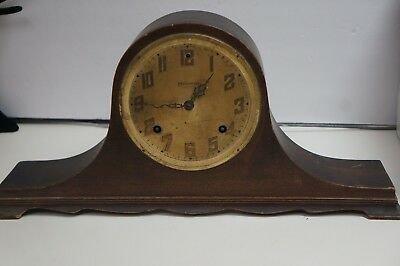 Vtg Antique Ingraham Chiming 8 Day Walnut Mantle Clock For Parts Or Repair