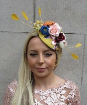 Mustard Yellow Blue Rose Flower Feather Hat Hair Fascinator Wedding Races 5700