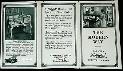 Original Advertising Brochure Hotpoint Electric Range 1920s Models R95,RS67,RS73