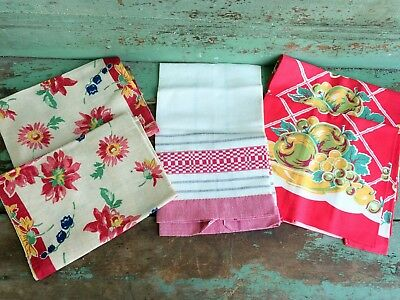 Antique vintage 5 Red And White Linen Dish/ Tea Towels Floral Fruit Never Used