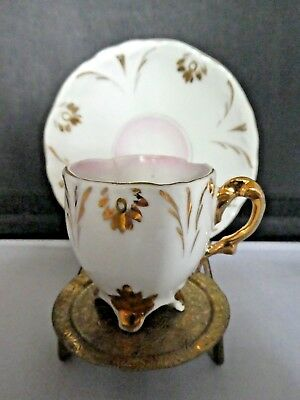 Antique Demitasse footed cup & saucer- gold & white-circa 1900