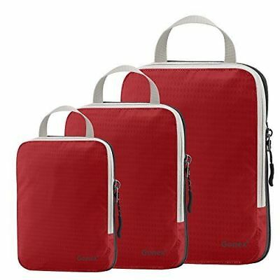 Red Packing Cube Clothing Compression Extendable Storage Bag Set Travel Vacation