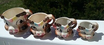 VINTAGE WHIMSICAL ANTHROPOMORPHIC ELSIE COW CERAMIC MEASURING CUPS Set of 4 RARE