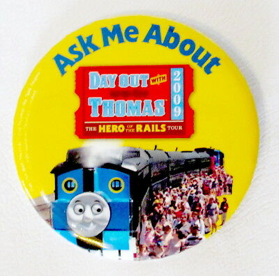 """Day Out With Thomas Tank Engine 3"""" Pinback Button - 2009 DOWT Staff Promo Rare"""