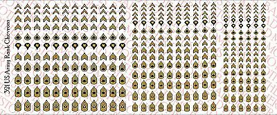 1/18 Scale Decals: US Army Rank Chevrons - Waterslide Decals