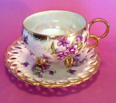 Royal Sealy Loop Footed Tea Cup And Reticulated Saucer - Violets  - Japan