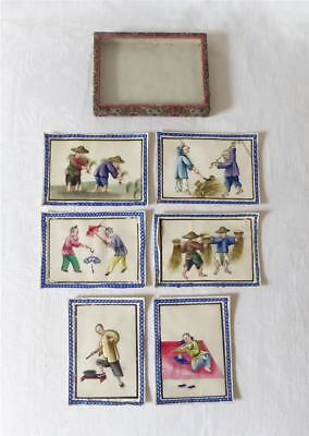 Six Very Fine Antique 19Thc Chinese Rice Paper Or Pith Paintings In Original Box