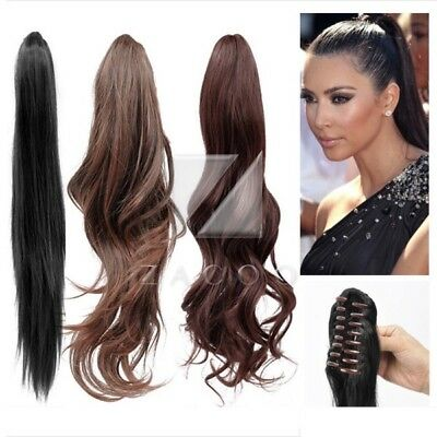 """Claw Clip In Ponytail Hair Extension New  22"""" 20"""" 18"""" Hairpiece Straight Wavy"""