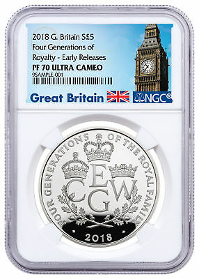 2018 Great Britain Four Generations of Royalty Silver £5 NGC PF70 ER SKU52409