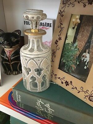 Antique White Cased Glass Cut To Clear Cologne Bottle