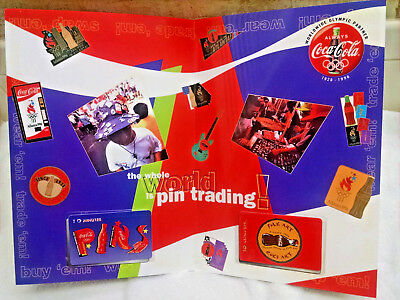 Coca-Cola 2 card set -FOLK ART-COKE ART-Olympic pin trading center-w/folder #2