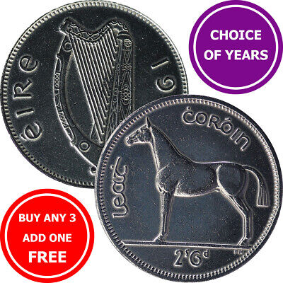 Ireland Half Crown Coins (2/6, 2s6d) - Choose Year 1951-1967 Irish Hunting Horse