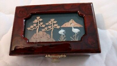 Vtg Oriental Asian 3-D Cork Carved Wooden Frame Jewelry Box With Tint Of Roses
