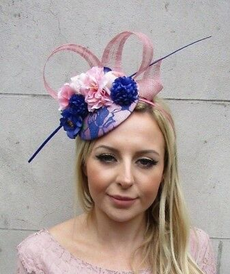 Royal Blue Blush Dusky Pink Rose Flower Feather Hat Hair Fascinator Races 5717