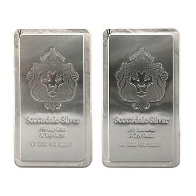 2 x 10 oz Scottsdale STACKER® Silver Bars - 20 Troy oz .999 Silver Bullion #A248
