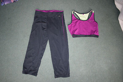 Usa Pro Ladies Grey Pink Keep Fit Outfit 8 Bra And Leggings Bottoms