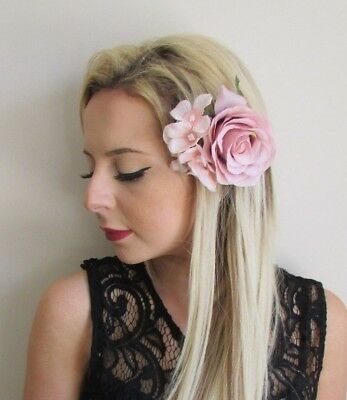 Blush Nude Pink Rose Hydrangea Flower Hair Clip Fascinator Bridesmaid 1950s 5726