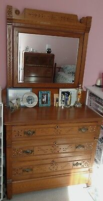 Antique Spoon-Carved Wood Dresser with Mirror