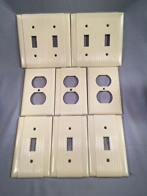 8 vintage Bakelite Ivory Ribbed Deco double single Light Switch Plate outlets